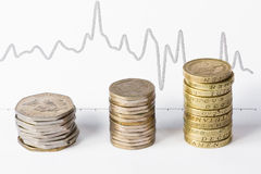 Stacks of coins and graph Royalty Free Stock Photos