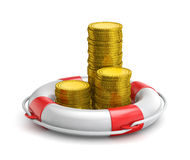 Stacks of coins inside lifebuoy Royalty Free Stock Photography