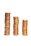 Stacks of coins isolated Stock Photo