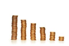 Stacks of coins isolated on th Royalty Free Stock Images