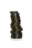 Stacks of coins isolated on white background Royalty Free Stock Photo