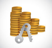 Stacks of coins and keys illustration design Stock Images