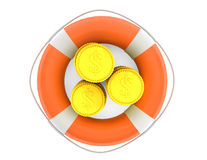 Stacks of coins with lifebuoy Royalty Free Stock Photos