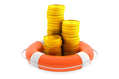 Stacks of coins with lifebuoy. On a white background Stock Photo