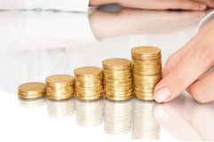 Stacks of coins like diagram Royalty Free Stock Photo