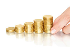 Stacks of coins like diagram Royalty Free Stock Images