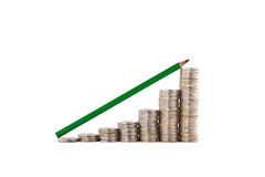 Stacks of coins like diagram Royalty Free Stock Image