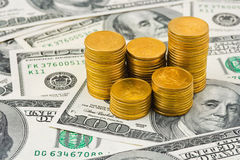 Stacks of coins on money Royalty Free Stock Photos
