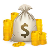 Stacks of coins and money bag stock illustration