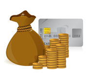 Stacks of coins, money bag and a credit card Royalty Free Stock Photography