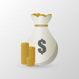 Stacks of coins and money bag. Vector illustration Stock Images