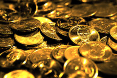 Stacks of Coins and Money Representing Wealth Success and Riches Stock Images