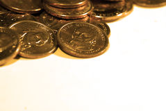 Stacks of Coins and Money Representing Wealth Success and Riches Stock Image