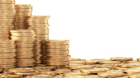 Stacks of coins over layer of coins Stock Photography