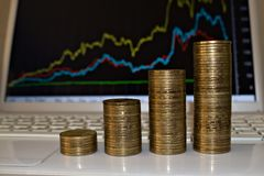 Stacks of coins repeat currency schedule stock photography