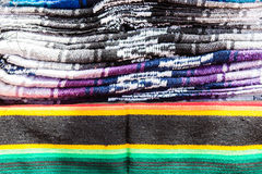 Stacks of colored blankets Stock Image