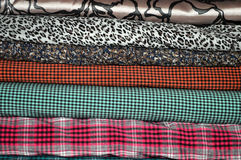 Stacks of colored cloth Royalty Free Stock Image