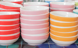 Stacks of colorful cups Royalty Free Stock Photos