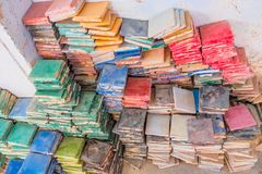 Stacks of colorful glazed square tiles for the use of zellige tilework. Fez, Morocco royalty free stock images