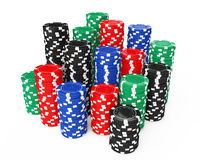 Stacks of Colorful Poker Casino Chips. 3d Rendering Stock Photo