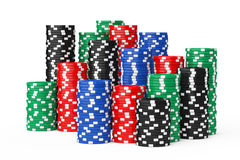 Stacks of Colorful Poker Casino Chips. 3d Rendering Royalty Free Stock Photo