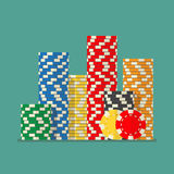Stacks colorful poker chips Stock Photos