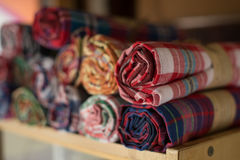 Stacks of colorful Thai fabric Stock Photo