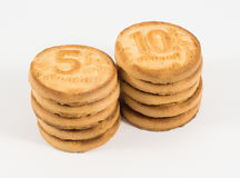 Stacks of cookies as the ruble coins noinalom one, two, five, te Royalty Free Stock Photos
