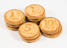 Stacks of cookies as the ruble coins rating one, two, five, ten Stock Images