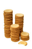 Stacks of cookies isolated on white Stock Photos