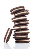 Stacks of cookies on white background Royalty Free Stock Photography