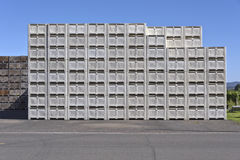 Stacks of crates and bins in Hood River Valley Oregon. Stacks of crates and bins ready for the harves of fruits in Hood River Valley Oregon royalty free stock photos