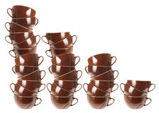 Stacks of Cups. On White Background stock images