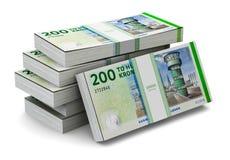 Stacks of 200 Danish krones Royalty Free Stock Photography