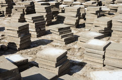 Stacks dismantled the old paving slabs Royalty Free Stock Images
