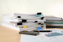 Stacks of documents on table Royalty Free Stock Images