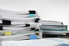 Stacks of documents on table Stock Photography