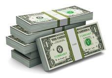 Stacks of 1 dollar banknotes Stock Photos