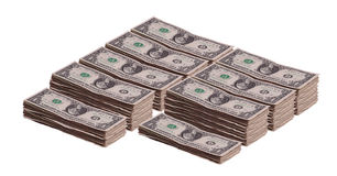 Stacks of dollar banknotes Stock Photography