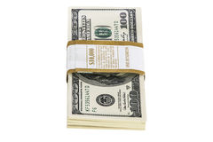 Stacks of 100 dollar bills isolated on white Stock Image