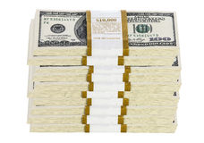 Stacks of 100 dollar bills on white background Royalty Free Stock Photos
