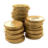 Stacks of dollar coins. Stacks of golden coins with dollar signs, isolated on white background Stock Image