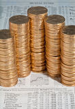 Stacks of  dollar gold coins Stock Photo