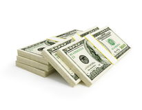 Stacks of dollars. On a white background Royalty Free Stock Photos