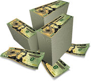 Stacks of Dollars. An illustrated background with stacks of American dollars, isolated one a white background royalty free illustration