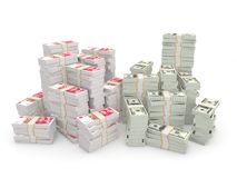 Stacks of dollars and chinese yuan Royalty Free Stock Image