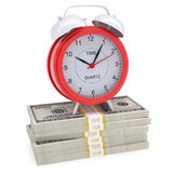 Stacks of dollars and a red alarm. Isolated render on a white background Royalty Free Stock Photos