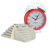 Stacks of dollars and a red alarm. Isolated render on a white background Stock Images