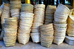 Stacks of empty handmade bamboo weaved baskets Stock Image