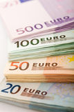 Stacks of euro banknotes - closeup Stock Photo